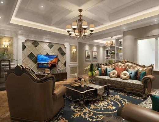 欧式客厅, 客厅, 欧式沙发, 沙发组合, 沙发茶几组合, 吊灯
