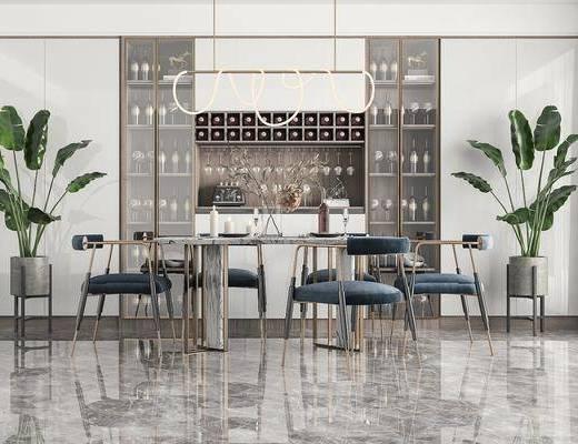 餐桌椅, 吊灯, 酒柜, 绿植, 摆件