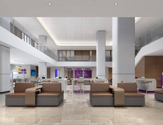 办事大厅, 单人沙发, 装饰柜, 手机, 现代