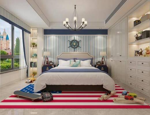 儿童房, 双人床, 床头柜, 台灯, 吊灯, 装饰柜, 墙饰, 摆件, 装饰品, 陈设品, 现代