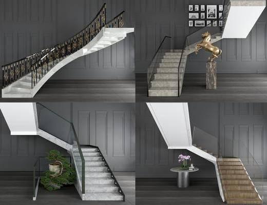 旋轉樓梯, 轉角玻璃, 扶手欄桿, 雕塑擺件, 盆栽盆景, 現代