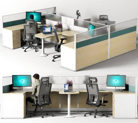 现代, 办公桌椅, 组合