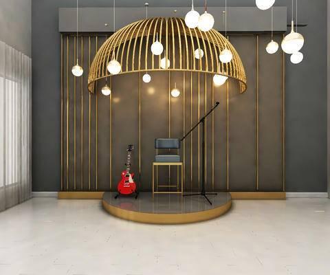 舞台, 乐器, 吊灯, 单椅