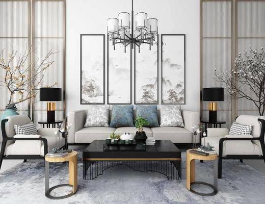 沙发组合, 多人沙发, 茶几, 单人沙发, 边几, 花瓶花卉, 干树枝, 装饰画, 挂画, 组合画, 吊灯, 摆件组合, 新中式