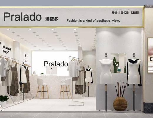服装店, 货架, 模特, 服饰, 现代简约
