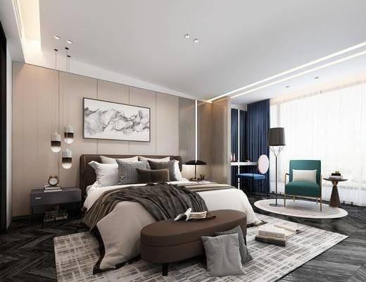 卧室, 床具组合, 单人沙发组合, 吊灯组合, 摆件组合, 现代