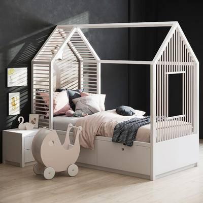 单人床, 床具组合, 床头柜, 装饰画