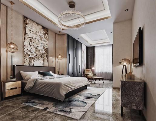 新中式, 卧室, 床具, 双人床, 床头柜, 吊灯, 摆件, 墙饰, 装饰画, 电视柜, 装饰品, 单椅, 衣柜