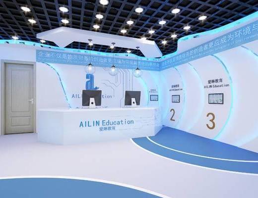 教室, 过道, 墙饰, 电脑桌