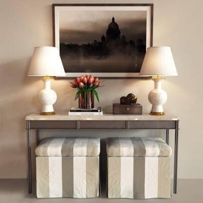 端景台, 凳子, 台灯, 挂画, 花盆, 桌子, 现代