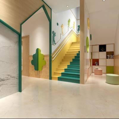 幼儿园大堂, 楼梯组合, 前台接待, 楼梯间, 现代