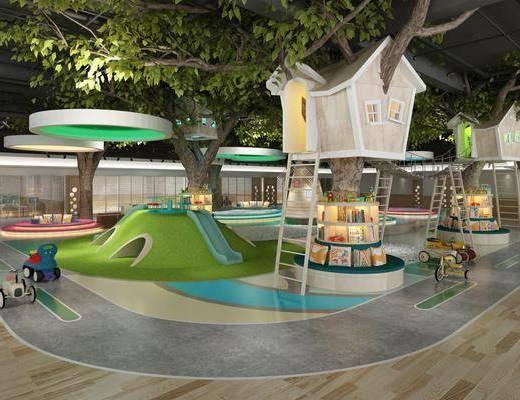 游乐场, 树木, 绿植植物, 玩具, 书籍, 现代