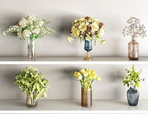 现代, 花艺, 花瓶, 单品, 3d模型