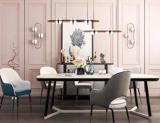 餐桌椅組合, 餐具組合, 擺件組合, 邊柜, 吊燈壁燈, 現代
