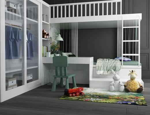 上下铺, 儿童房, 玩偶, 衣柜, 服饰, 单人椅, 台灯, 书籍, 摆件, 装饰品, 陈设品, 现代
