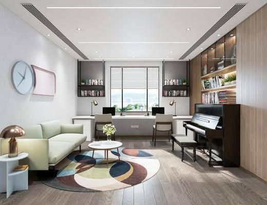 沙发组合, 茶几, 钢琴, 桌椅组合, 钟表, 置物柜