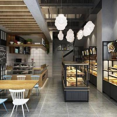 面包店, 工业风, 面板, 餐桌椅, 桌椅组合