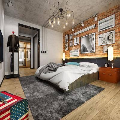 工业风, 卧室, 双人床, 边柜, 吊灯, 挂画, 衣服, 衣柜