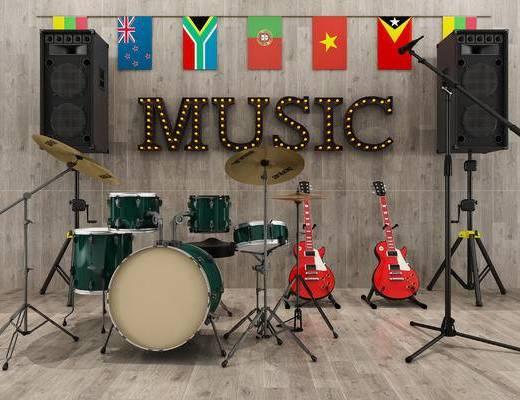 现代乐器, 架子鼓, 音响, 吉他, 话筒