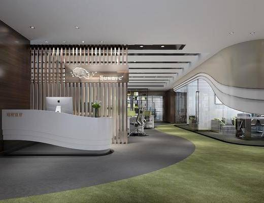 办公区, 现代办公区, 办公室, 桌椅组合