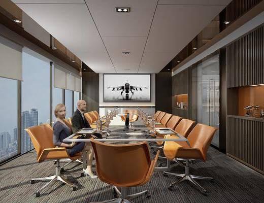 会议室, 办公桌, 办公椅, 人物, 单人椅, 摆件, 装饰品, 陈设品, 工业风