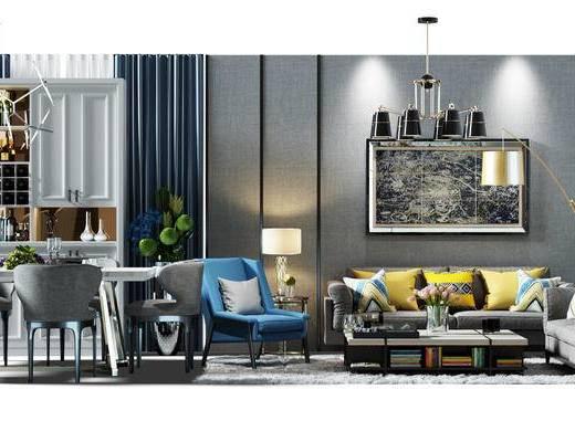 沙发组, 沙发背景墙, 背景墙, 酒柜, 装饰柜, 餐桌椅组合, 桌椅, 餐桌, 桌椅组合, 吊灯, 沙发椅, 盆景, 植物