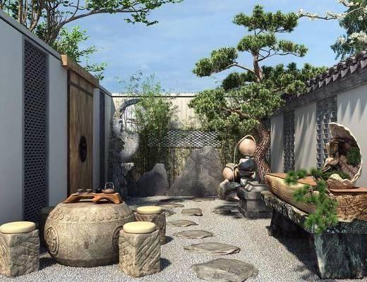 石桌, 庭院, 植物, 假山, 茶具