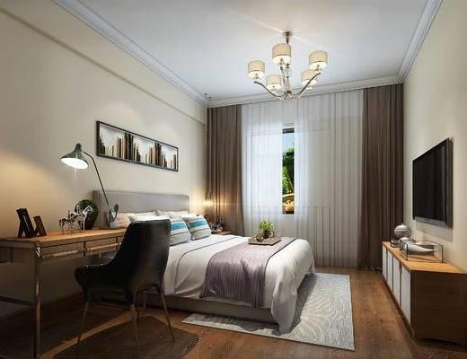 卧室, 床具组合, 边柜组合, 桌椅组合, 摆件组合, 吊灯, 台灯, 现代