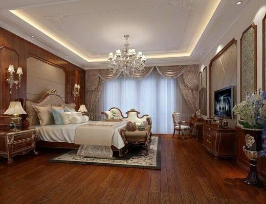 卧室, 双人床, 床头柜, 台灯, 吊灯, 壁灯, 电视柜, 边柜, 床尾凳, 躺椅, 单人椅, 盆栽, 花卉, 边几, 欧式