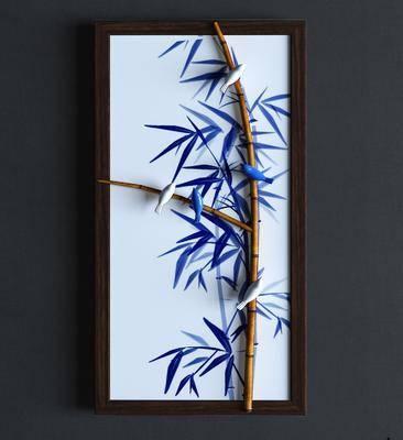 竹子挂画, 植物画, 新中式