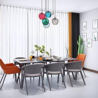 桌椅组合, 现代桌椅组合, 挂画, 吊灯, 餐具, 摆件, 现代