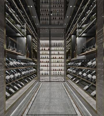 别墅酒窖, 酒柜, 酒瓶, 藏酒格