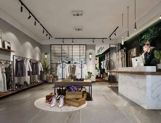 现代服装店, 衣服, 前台