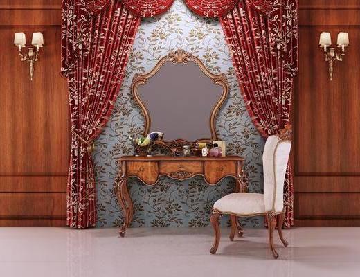 欧式梳妆台, 古典梳妆台, 梳妆台组合, 梳妆台