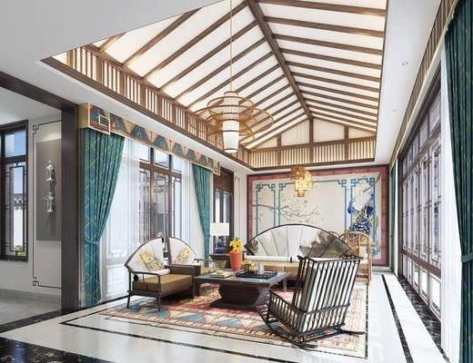 客厅, 桌椅组合, 茶几组合, 单椅, 吊灯
