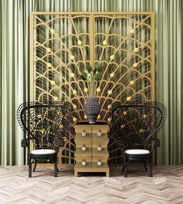 简欧孔雀羽毛装饰, 边柜, 铁艺椅子