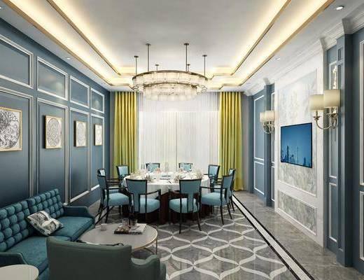 餐桌, 餐椅, 单人椅, 装饰画, 挂画, 吊灯, 壁灯, 多人沙发, 单人沙发, 摆件, 装饰品, 陈设品, 欧式