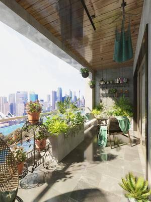 阳台, 露台, 植物, 盆栽, 绿植