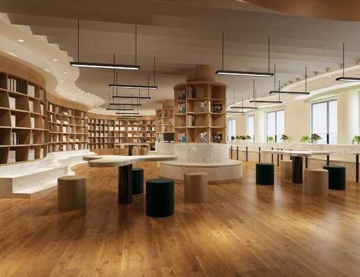 图书馆, 书架, 书籍, 灯具, 桌椅组合