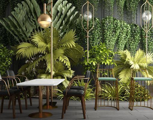 植物墙, 餐桌椅组合, 餐桌椅, 桌椅组合, 落地灯