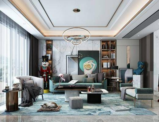 客厅, 沙发组合, 沙发茶几组合, 挂画组合, 装饰柜组合, 吊灯, 摆件组合, 装饰品, 陈设品, 后现代