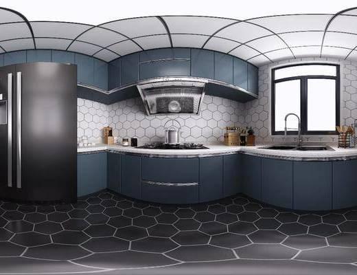 厨房橱柜, 厨具组合, 摆件组合, 家装全景, 北欧
