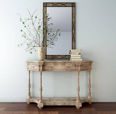 端景台, 陈设品, 花瓶, 书籍, 镜子, 边柜, 美式