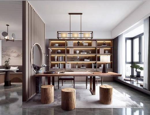书桌, 桌椅组合, 书柜, 书籍, 摆件, 吊灯