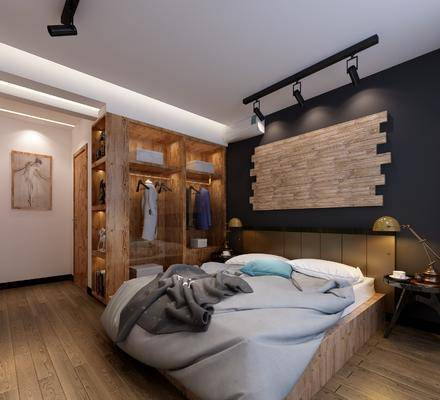 卧室, 双人床, 床头柜, 台灯, 衣柜, 服饰, 人物画, 卧室全景, 书籍, 装饰品, 陈设品, 射灯, 工业风