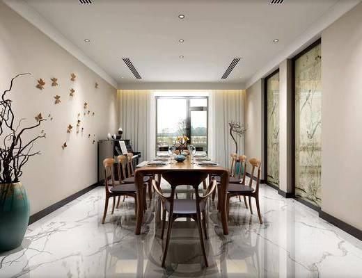 餐厅, 餐桌, 餐椅, 单人椅, 餐具, 花瓶, 干树枝, 墙饰, 新中式