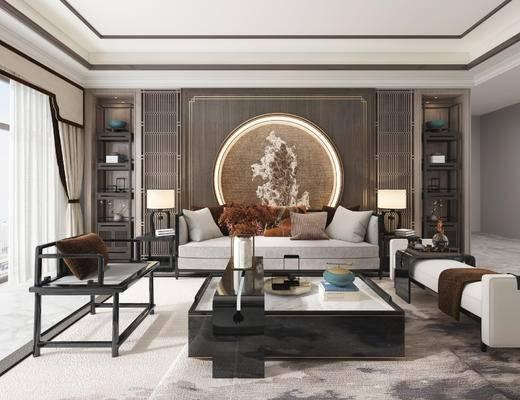 新中式客厅, 沙发, 茶几, 台灯, 背景墙