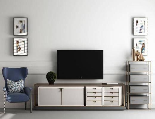 电视柜, 边柜, 装饰柜, 装饰架, 装饰画, 挂画, 单人椅, 照片墙, 美式