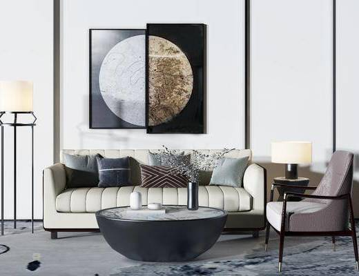 沙发组合, 现代沙发组合, 茶几, 单椅