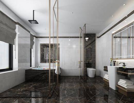 現代浴室, 浴室, 衛生間